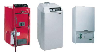 рис.78. Котлы для индивидуальных котельных (слева направо: универсальный котел с дутьевой газовой горелкой; котел сатмосферной горелкой; настенный котел)